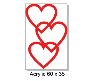 Red hearts acrylic 60 x 38mm  pack of 4